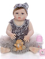 cheap -KEIUMI 22 inch Reborn Doll Baby & Toddler Toy Reborn Toddler Doll Baby Girl Gift Cute Washable Lovely Parent-Child Interaction Full Body Silicone 23D25-C50-H75-T18 with Clothes and Accessories for