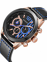 cheap -RONMAR Men's Sport Watch Quartz Sporty Casual Water Resistant / Waterproof Leather Black / Brown Analog - Black Brown