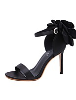 cheap -Women's Sandals Summer Stiletto Heel Open Toe Daily Solid Colored PU Black / Pink