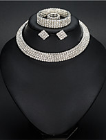 cheap -Women's White AAA Cubic Zirconia Bracelet Bangles Stud Earrings Choker Necklace Tennis Chain Mini Stylish Luxury Earrings Jewelry Silver For Wedding Party Engagement 1 set / Bridal Jewelry Sets