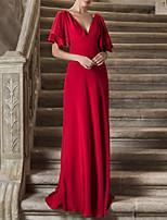 cheap -Sheath / Column Elegant Minimalist Engagement Formal Evening Dress V Neck Short Sleeve Sweep / Brush Train Chiffon with Sleek 2020