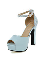 cheap -Women's Sandals Platform Peep Toe Casual Daily Office & Career Buckle Sequin Solid Colored PU White / Black / Blue