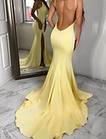 cheap -Mermaid / Trumpet Beautiful Back Sexy Engagement Formal Evening Dress V Neck Sleeveless Court Train Stretch Satin with Split 2020