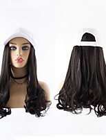 cheap -Synthetic Wig Curly Wavy With Ponytail Wig Long Dark Brown Brown Black Synthetic Hair 22 inch Women's Fashionable Design Creative New Arrival Black Brown