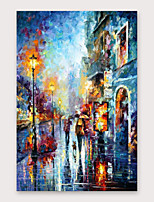 cheap -IARTS®Hand Painted Streetscape Oil Painting   with Stretched Frame For Home Decoration