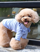 cheap -Dog Shirt / T-Shirt Pajamas Solid Colored Casual / Sporty Cute Party Casual / Daily Dog Clothes Warm White Yellow Blue Costume Fabric XXXS XXS XS S M L