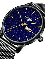 cheap -NIBOSI Men's Steel Band Watches Quartz Sporty Casual Water Resistant / Waterproof Stainless Steel Black / Gold Analog - Digital - Black+Gloden White+Golden Blue / Calendar / date / day / Noctilucent