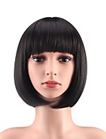 cheap -Synthetic Wig Natural Straight With Bangs Wig Medium Length Brown Blonde Black Synthetic Hair 12 inch Women's Party Adorable Fashion Blonde Black