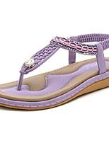 cheap -Women's Sandals Summer Flat Heel Open Toe Daily PU Almond / Black / Purple