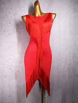 cheap -Latin Dance Dress Tassel Women's Performance Sleeveless Spandex