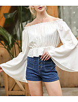 cheap -Women's T-shirt Solid Colored Long Sleeve Off Shoulder Tops Basic Top White