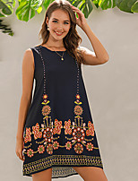 cheap -Women's Shift Dress Knee Length Dress - Sleeveless Floral Summer Vintage 2020 Black S M L XL