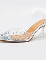 cheap -Women's Sandals Summer Kitten Heel Pointed Toe Casual Daily PU Silver