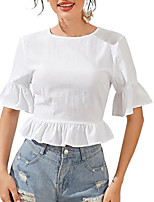 cheap -Women's Blouse Solid Colored Tops Round Neck Daily Summer White S M L XL
