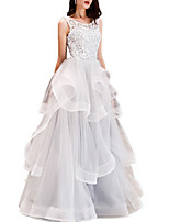 cheap -Ball Gown Elegant Beautiful Back Quinceanera Prom Dress Jewel Neck Sleeveless Floor Length Lace Tulle with Tier 2020