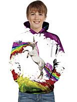 cheap -Kids Toddler Boys' Active Basic Unicorn Geometric Color Block Animal Print Long Sleeve Hoodie & Sweatshirt White