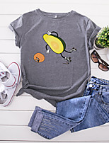 cheap -Women's T-shirt Fruit Print Round Neck Tops 100% Cotton Basic Summer Wine White Black