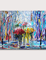 cheap -Painting on Canvas Pedestrians Rain Street Tree Palette knife Abstract Landscape Art Paintings Canvas Wall Art Modern Home Living Room Office Decor Abstract Painting Rolled Without Frame
