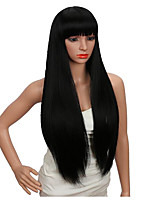 cheap -Synthetic Wig Straight kinky Straight Neat Bang Wig Long Very Long Light Blonde Black Synthetic Hair 26 inch Women's Smooth Party New Arrival Black