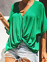 cheap -Women's T-shirt Solid Colored Tops V Neck Daily Summer White Black Green S M L XL
