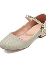 cheap -Women's Heels Fall Block Heel Round Toe British Preppy Party & Evening Office & Career PU Gold / Silver