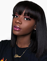 cheap -Remy Human Hair Wig Short kinky Straight Short Bob Neat Bang Natural Black Women Easy dressing Youth Machine Made Capless Brazilian Hair Malaysian Hair Women's Girls' Natural Black #1B 12 inch