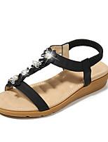 cheap -Women's Sandals Summer Flat Heel Round Toe Daily PU Almond / White / Black