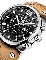 cheap -BENYAR Men's Sport Watch Quartz Modern Style Sporty Outdoor Water Resistant / Waterproof Leather Brown Analog - Red+Silver Silver+Orange Black / Orange / Calendar / date / day / Noctilucent