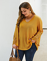 cheap -Women's Plus Size Blouse Solid Colored Embroidered V Neck Tops Loose Basic Fall Winter Yellow Blushing Pink