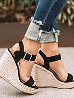 cheap -Women's Sandals Summer Wedge Heel Open Toe Daily Solid Colored Suede Almond / Black / Gray