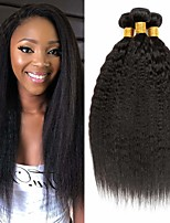 cheap -3 Bundles Hair Weaves Brazilian Hair kinky Straight Human Hair Extensions Remy Human Hair 100% Remy Hair Weave Bundles 300 g Natural Color Hair Weaves / Hair Bulk Human Hair Extensions 8-28 inch / 8A