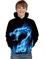 cheap -Kids Toddler Boys' Active Basic Dragon Fantastic Beasts Geometric Color Block Animal Print Long Sleeve Hoodie & Sweatshirt Blue
