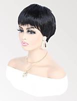 cheap -Remy Human Hair Wig Short Natural Straight Pixie Cut Natural Fashionable Design 100% Virgin Capless Brazilian Hair Women's Natural Black #1B