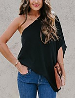 cheap -Women's Blouse Solid Colored One Shoulder Tops Summer White Black Beige