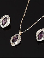 cheap -Women's White AAA Cubic Zirconia Stud Earrings Choker Necklace Bridal Jewelry Sets Tennis Chain Mini Stylish Luxury Earrings Jewelry Purple / Green For Wedding Party Engagement 1 set