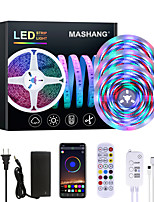 cheap -MASHANG Bright RGBW LED Strip Lights Waterproof 15M Music Sync Smart LED Tiktok Lights 3510LEDs 2835 Color Changing with 24 keys Remote Bluetooth Controller for Home Bedroom TV Back Lights DIY Deco