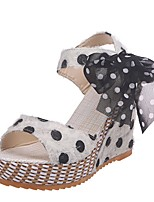 cheap -Women's Sandals Summer Wedge Heel Open Toe Daily Solid Colored PU White / Black / Pink