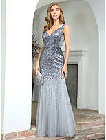 cheap -Mermaid / Trumpet Sexy Sparkle Wedding Guest Formal Evening Dress V Neck Sleeveless Floor Length Tulle Sequined with Sequin 2020