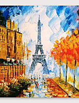 cheap -IARTS®Hand Painted Walking under the tower Oil Painting   with Stretched Frame For Home Decoration