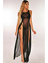 cheap -Women's Mesh Split Babydoll & Slips Suits Nightwear Solid Colored White / Black / Fuchsia S M L