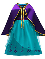 cheap -Anna Dress Cosplay Costume Girls' Movie Cosplay Halloween Blue Dress Cloak Christmas Halloween New Year Polyester / Cotton