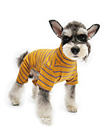 cheap -Dog Jumpsuit Pajamas Stripes Casual / Sporty Cute Sports Casual / Daily Dog Clothes Warm Yellow Orange Brown Costume Cotton S M L XL XXL
