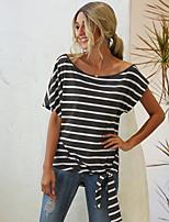 cheap -Women's Blouse Shirt Striped Round Neck Tops Basic Top Black Dark Gray Gray
