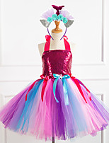 cheap -Princess Dress Girls' Movie Cosplay Vacation Dress New Year's Purple / Fuchsia / Green Dress Headwear Christmas Halloween Carnival Polyester / Cotton Polyester