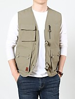cheap -Men's Hiking Vest / Gilet Summer Outdoor Windproof Breathable Quick Dry Multi-Pocket Top Camping / Hiking Hunting Fishing Black / Army Green / Blue / Khaki / Multi Pocket