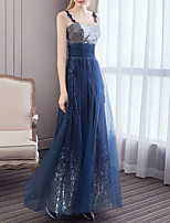 cheap -A-Line Elegant Sparkle Wedding Guest Formal Evening Dress Strapless Sleeveless Floor Length Tulle Sequined with Sequin 2020