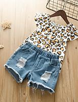 cheap -Kids Toddler Girls' Basic Chinoiserie Daily Wear Festival Blue Print Leopard Ripped Print Sleeveless Regular Regular Clothing Set White