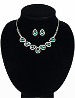 cheap -Women's White AAA Cubic Zirconia Stud Earrings Choker Necklace Bridal Jewelry Sets Tennis Chain Mini Stylish Luxury Earrings Jewelry Red / Green For Wedding Party Engagement 1 set