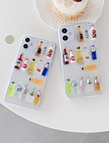 cheap -Apple Case For iPhone7 8 7plus 8plus  XR XS XSMAX  X SE  11  11Pro 11ProMax Translucent Three-dimensional Bottle Back Colorful Food TPU