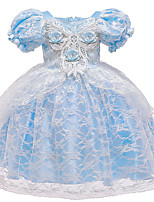 cheap -Cinderella Princess Elsa Dress Flower Girl Dress Girls' Movie Cosplay A-Line Slip Blue Dress Halloween Children's Day Masquerade Polyester